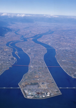 伊曽島地区航空写真